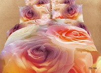 New Beautiful 100% Cotton 4pc Doona Duvet QUILT Cover Set bedding sets Full Queen King 4pcs flower rose colorful yellow