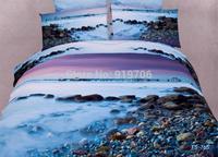 New Beautiful 100% Cotton 4pc Doona Duvet QUILT Cover Set bedding sets Full Queen King 4pcs flower Scenery lovely beach