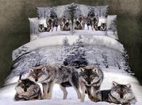 New Beautiful 100% Cotton 4pc Doona Duvet QUILT Cover Set bedding sets Full Queen King 4pcs animal Snowwolf wolf