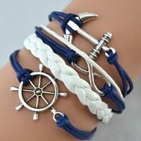 Fashion Vintage Anchors Rudder Rectangle leather bracelet Multilayer bracelet for women 2013