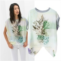 2014 Brand New Fashion Ladies Fruit Pineapple Print T-shirts T shirt Tee casual Tops for women