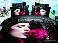 New Beautiful 100% Cotton 4pc Doona Duvet QUILT Cover Set bedding sets Full Queen King 4pcs flower rose & lover black