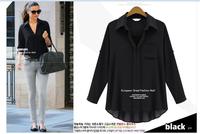 2014 Long-sleeved lapel shirt Korean loose blouses big sizes free shipping
