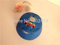 free shipping fashion Boy or Girls Sun Bucket Hats blue Train hat size age 1-6 years cotton