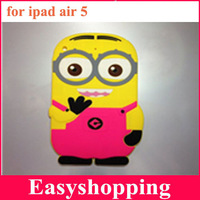 10pcs/lot EMS/DHL freeshipping New Silicone rubber Cartoon despicable me minion 3D case cover for IPAD Air 5 7colors