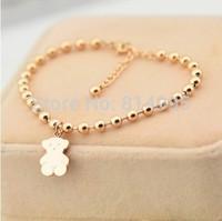 14k rose gold platedFancy letter with chain bangle bracelet /bear bracelets