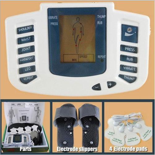 Cuidado de la salud! Nuevo jr-309 estimulador eléctrico del cuerpo completo relax masaje muscular, decenas de pulso de la acupuntura de la terapia con slipper+ 4 cojines