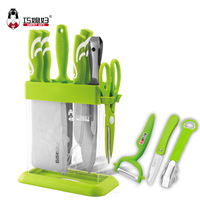 Free shipping 8pcs stainless steel kitchen set with acrylic block