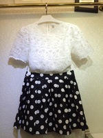 new 2014 summer Fashion flower blouse with lace Polka Dot skirt suit
