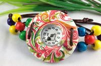 5pcs/lot wholesale free shipping knit  bead  bracelet watch women fashion luxury quartz wrist women round watch candy colors
