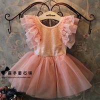 New 2014 Summer baby &kids clothing girls fashion lace sequined dress baby girls party tutu dress 5pcs/lot