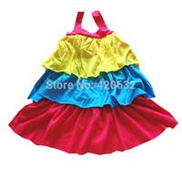 girls beach dress 2014 new fashion hot children's clothes brand designer Chromatic stripe condole belt vest dress 6/7 years old