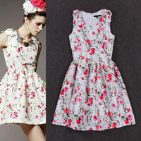 Free shipping The new European and American women's small fresh sweet flower print bow shoulder Slim Dress vestido longo