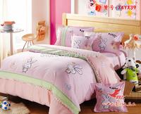 New Beautiful 100% Cotton 4pc Doona Duvet QUILT Cover Set bedding sets Full Queen King 4pcs cartoon colorful pink rabbit