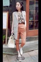 new 2014 summer fashion floral tape retro nine points pants Retro bars long waist coat 3 set