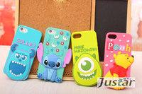 10pcs/lot Newest Cute 3D Cartoon Case For Iphone5/5S cartoon Head cartoon minnie mickey Silicone Back Covers