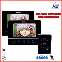 "9""TFT-LCD video door phone doorBell intercom with function of system touch key door Lock RFID Keyfobs"