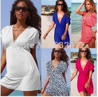 New 2014 women summer European version of ice silk sexy deep v-neck beach dresses swimwear beach cover up Cover-Ups