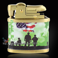 Great Gift!! New Army Solder Pattern Pure Copper Cigar Cigarette Vintage Classic Petrol Oil Lighter