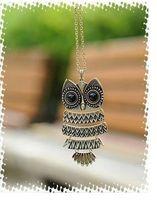 Big sale  Free shipping vintage bronze owl pendant necklace