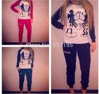 new 2014 woman's clothing cartoon mouse tracksuits cartoon sport suit women fashion sweatshirt+pants one set clothing sportswear