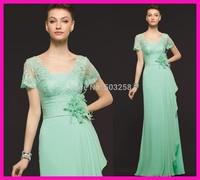 FCD8 Bridesmaid Dress with Short Sleeves Lace Chiffon Floor Length 2014 Modern