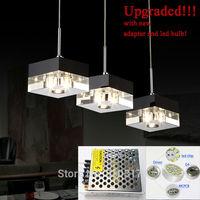 Pendant Light  LED Upgraded imported crystal k9  block modern restaurant light three heads Hanging lamp crystal lamps led led G4