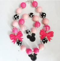 Minny mouse pendant kid chunky necklace and bracelet,toddler baby girls bubblegum jewelry set!2sets/lot!