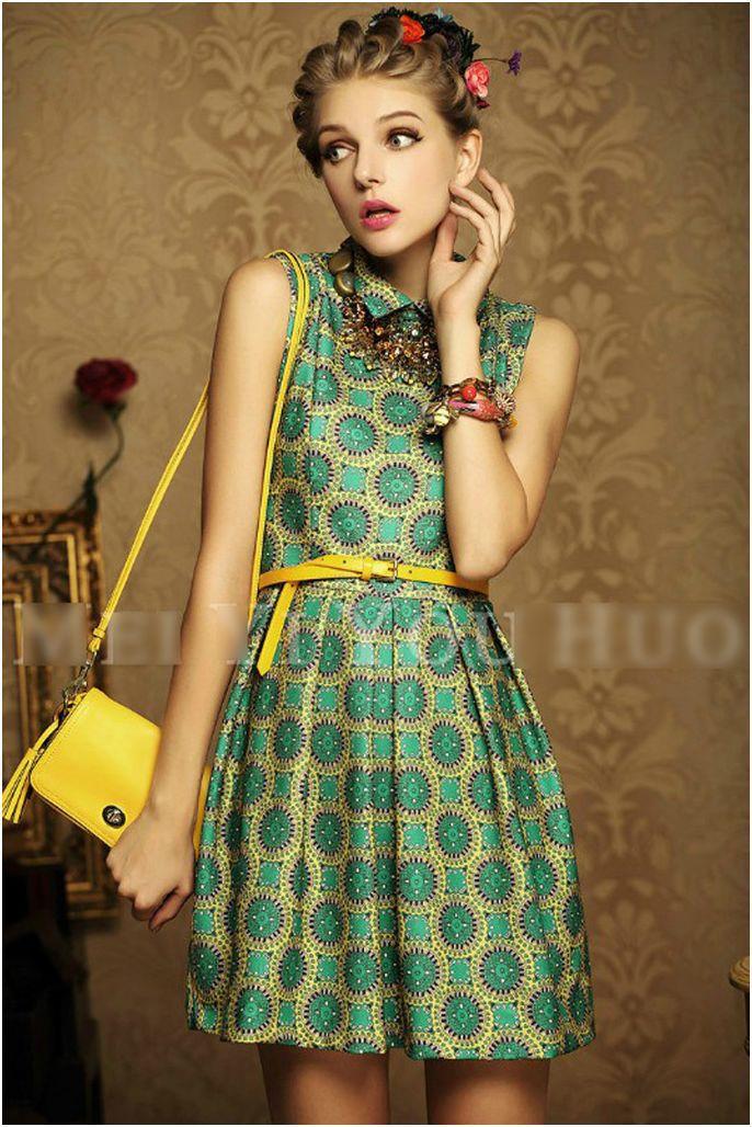 TF156 New arrive dresses 2014 vintage slim fit baroque sleeveless turn-down collar women's dress,empire feminine summer dress(China (Mainland))