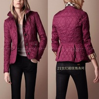 High quality fashion women's classic plaid slim waist type single breasted turn-down collar wadded jacket