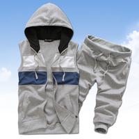 2014 sprng and summer sports suit fashion sportswear hoodies set sweatshirt men's clothing casual men's tracksuit plus velvet