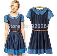 Hot European Style Doll Collar Short-sleeved Mixed Colors Slim Thin Denim Dress Jeans Dresses Women With Belt C-JZ214
