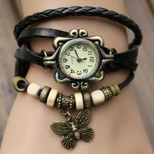 Butterfly Leaf Fashion leather Bracelet Water Quartz Hand Clock Women Wrist Watch Wristwatch Free Shipping 1ID5
