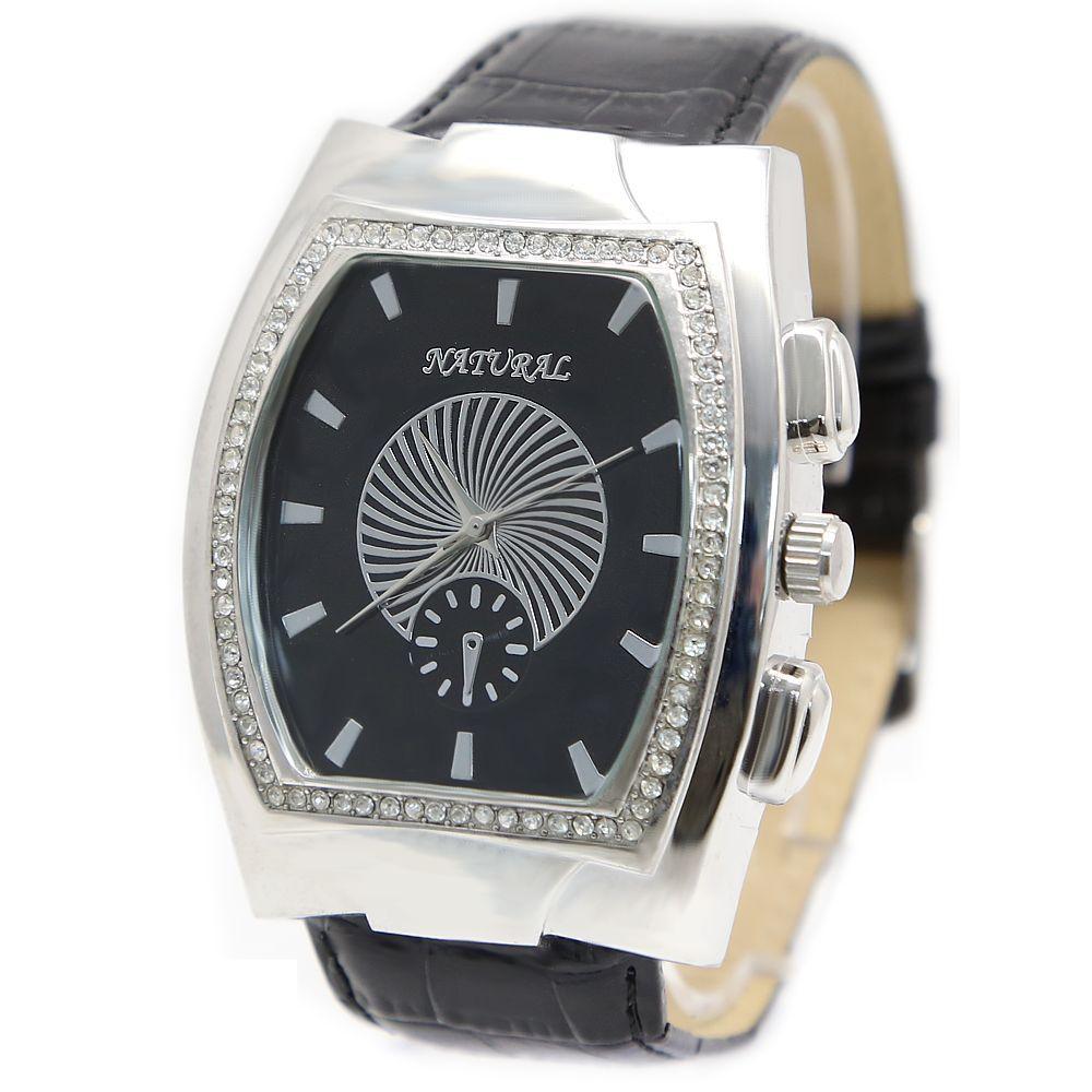 Trendy Big Case Black Band Free Shipping FW296D NATURAL Rectangular PNP Shiny Silver Watchcase Ladies Women Fashion Watch(China (Mainland))
