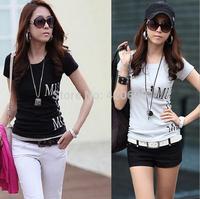 Free Ship 2014 Hot Sale Woolen T Shirt Women Summer Slim Short Sleeve T-Shirt High Quality Korean Tee Shirts