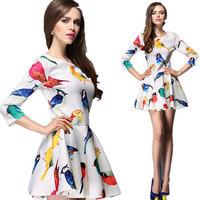 Sexy Dress Top Fasion Natural Herringbone Ball Gown Women's European Grand Prix 2014 Latest Short-sleeved Summer New Style Dress