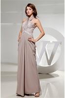 Halter Sleeveless Beading A-Line Chiffon Silk-like Satin Formal Evening Dress