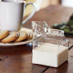 Half Pint Glass Milk Box Transparent Milk Box Glass Cup(China (Mainland))
