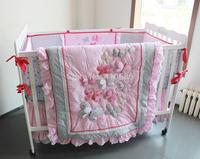 Elegant Princess Baby Crib Bedding Sets 7pcs Nursery Cot Kit set 3D Pink Butterflys Lace Quilt Bumper Sheet Skirt for girls
