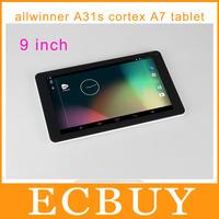 cheap 9 inch tablet pc allwinner a31s Quad Core Android 4.2 1GB 8GB 800 x 480 screen HDMI WIFI dual camera