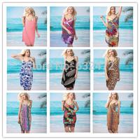 New 2014 women summer European version Ice silk printing multi-strap beach dresses swimwears beach cover up Cover-Ups Clothing