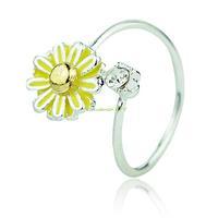 ES0178 Yellow Fashion Chrysanthemum Flower Finger Ring Size 8