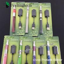 EVOD E-cigarette blister kit mini protank clearomizer evod 650/900/1100mAh battery evod e cig (10*evod protank blister)
