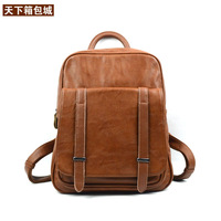Vintage Fashion Preppy Style Genuine Leather Backpack Womens Cowhide Backpack Real Leather School Bag