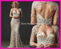 FCD16 Elegant  Long Sleeves Mermaid Lace Evening Dresses 2014 New Design Prom Gown Vestido de Renda Special Occasion Dresses