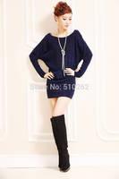 2015 New Batwing Sleeve Dress Women's Pullover Sexy Sweaters Dresses Slim Hip Slim Long Sleeve Basic Dress Plus Size
