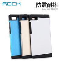 MOQ 1pc 4 colors Xiaomi Mi3 MiUi M3 Original Rock Brand best cheap Hard PC Soft TPU Back Cover Phone Pouch Bag Case XIAOMI M3
