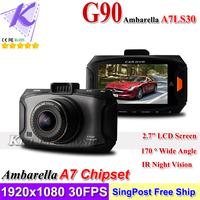 New Car Camera Ambarella A7 Program Car Black Box DVR 1080P 30FPS 720P 60FPS w 170 Degree Wide Angle Lens 5M CMOS Sensor IR G90