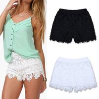 FanShou Free Shipping 2014 European Fashion Spring Summer Women Shorts Elastic High Waist Lace Shorts Casual Short Pants