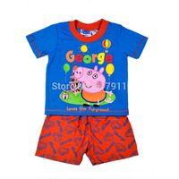 new 2014 Summer pijama peppa pig Boys Clothing Sets baby & kids brand Sets kids clothes sets George Short Sleeve T-shirt+Shorts